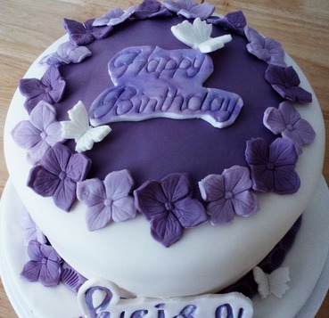 Ladies purple themed birthday cake