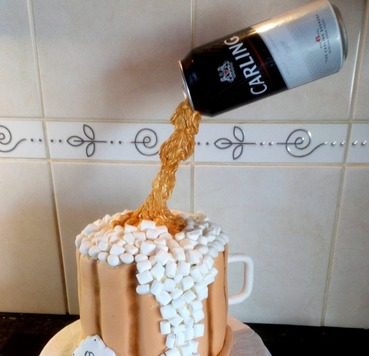 Carling beer gravity birthday cake