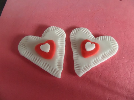 white and red heart cupcake topper
