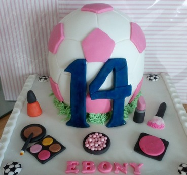girls 14th football and make-up birthday