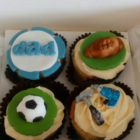 football, rugby and dads worktools cupcakes