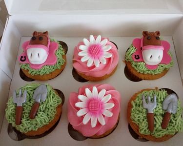 horses, flowers and gardening cupcakes