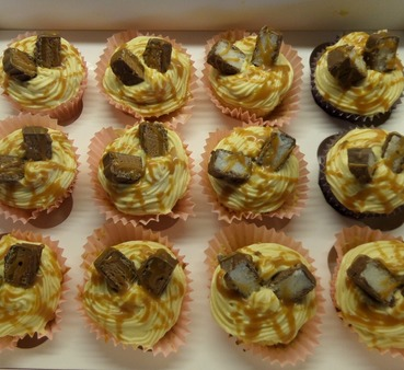 mars bar and bounty topped cupcakes