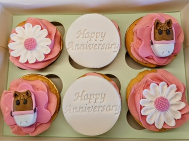 Horses and sunflowers anniversary cupcakes
