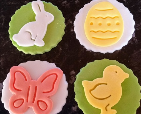 Variety of Easter toppers, chick, butterfly, bunny and egg