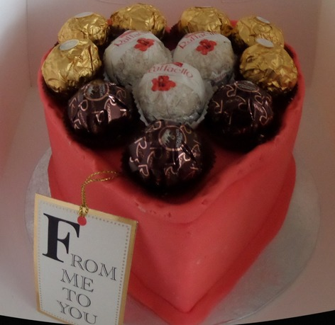 heart shaped cake with chocs