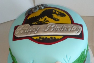boys dinosaur themed birthday cake